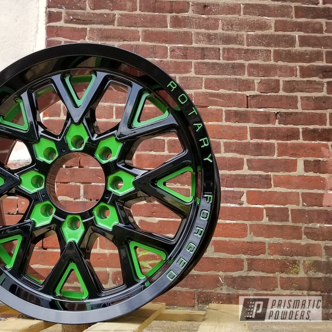 Powder Coating: Wheels,Automotive,Rims,Ink Black PSS-0106,Two Tone Wheels,Sweet Pea Green PSS-1070,Two Tone,Two Toned,Automotive Wheels
