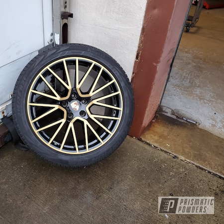Powder Coating: Wheels,Automotive,Calipers,Ink Black PSS-0106,Two Tone Wheels,Two Toned,Automotive Wheels,Goldtastic PMB-6625,Porsche Wheels,Soft Clear PPS-1334,Rims,Brake Calipers,Porsche,Two Tone