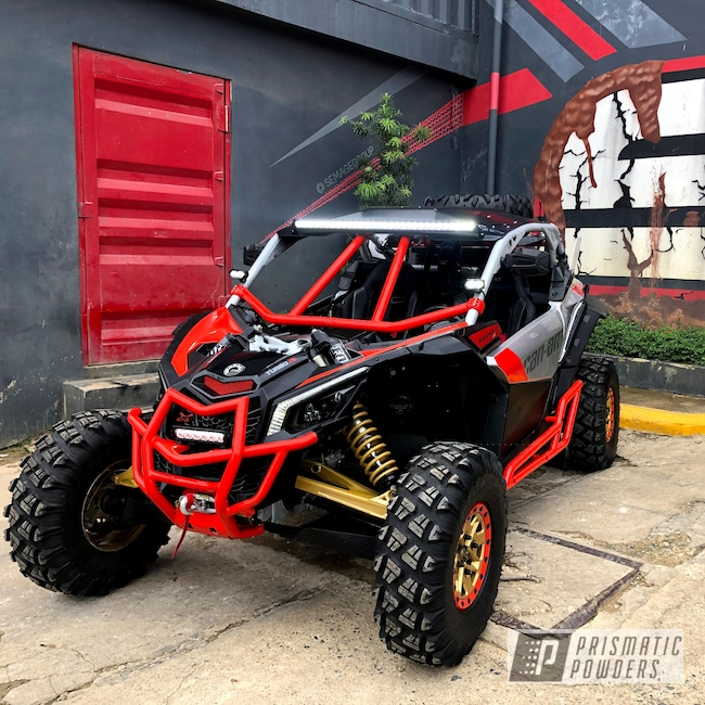 Powder Coating: ATV Frame,Buggy,Can-Am Factory Red Match,Bright Red PSB-6401,SXS,Can-Am,Maverick X3 XDS
