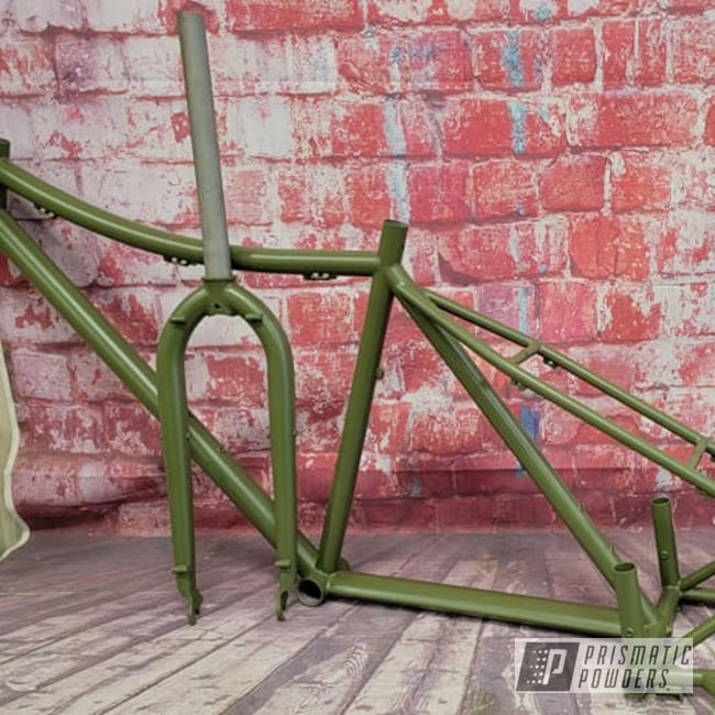 Powder Coating: Bicycle Parts,Bicycle,Army Green PSB-4944,Bicycle Frame