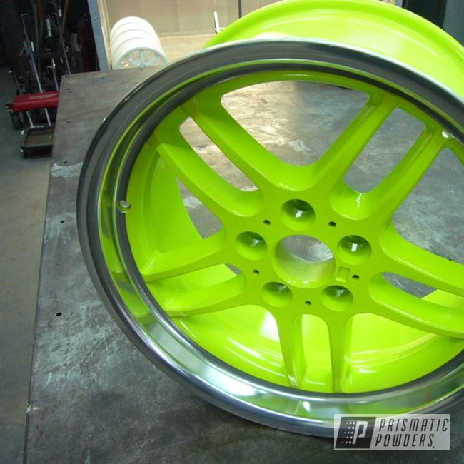 Powder Coating: Wheels,Chartreuse Sherbert PSS-7068,Rims,Aluminum Rims,BMW,Car Parts,Car Wheels,Aluminum Wheels