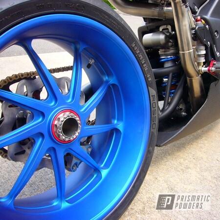 "Powder Coating: Wheels,Ducati,Diavel,Rims,17"" Aluminum Rims,Peeka Blue PPS-4351,SUPER CHROME II PSS-10300,R1,Three Powder Application,Motorcycles,Motorcycle Rim,Casper Clear PPS-4005"