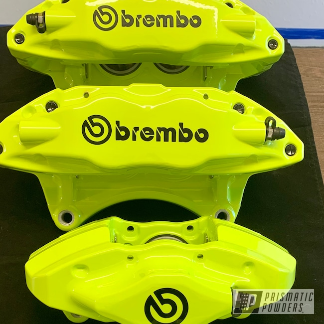 Powder Coating: WRX,Automotive,Calipers,Chartreuse Sherbert PSS-7068,Brembo Calipers,Brembo,Brake Calipers,Subaru,Brembo Brakes,Brembo Brake Calipers