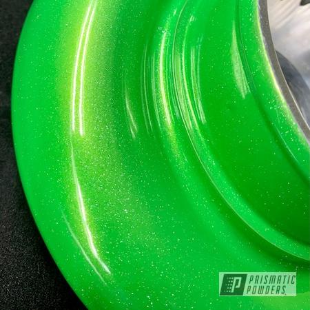 Powder Coating: Shattered Glass PPB-5583,Silverado,Automotive,Turbo Parts,POLISHED ALUMINUM HSS-2345,Chevrolet,Three Powder Application,Turbo,Silverado Turbo,454,Lollypop Lime PPS-5628,Layered Colors