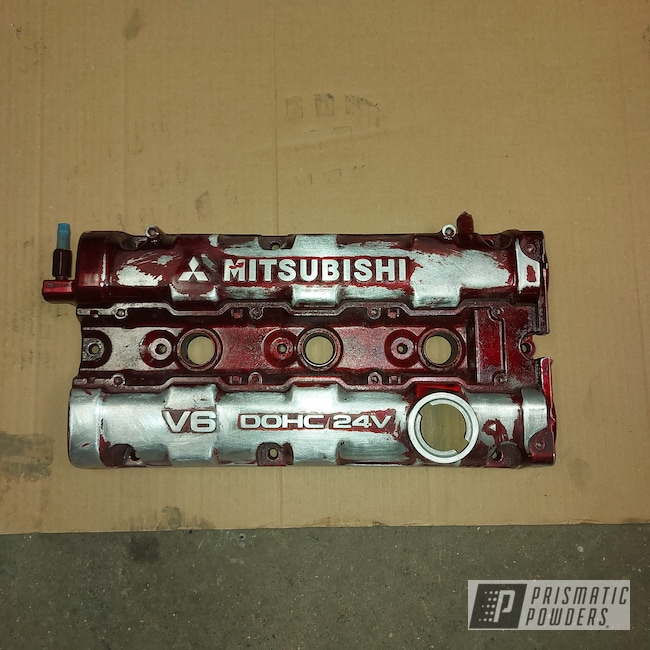 Powder Coating: Sky White River PRB-5475,Automotive,Flame Red PSS-5082,Valve Covers,Mitsubishi