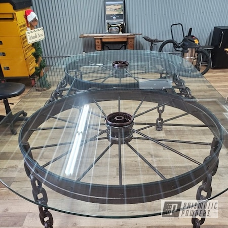 Powder Coating: Old Wheels,Antique,US Penny Vein EVS-4485,Antique Table,Antique Wheels and Chain,Table