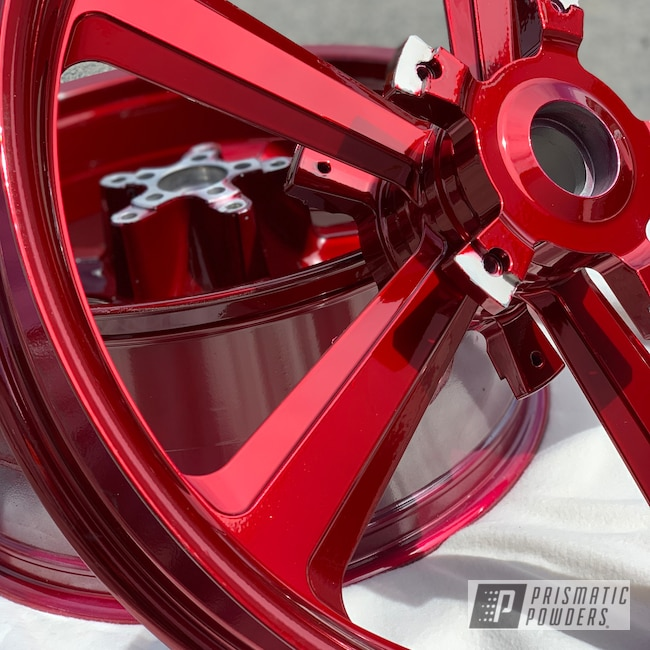 """Powder Coating: Wheels,Harley Davidson Parts,Harley Davidson,Two Stage Application,Motorcycle Rims,Motorcycle Parts,Rims,Harley Wheels,SUPER CHROME II PSS-10300,19"""" Aluminum Rims,Motorcycles,Wizard Red PPS-4690"""