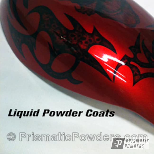 Powder Coating: LOLLYPOP RED UPS-1506,Custom airbrush work and powder fusion,BIGGS SILVER UPB-6018,Motorcycles,Alien Silver PMS-2569