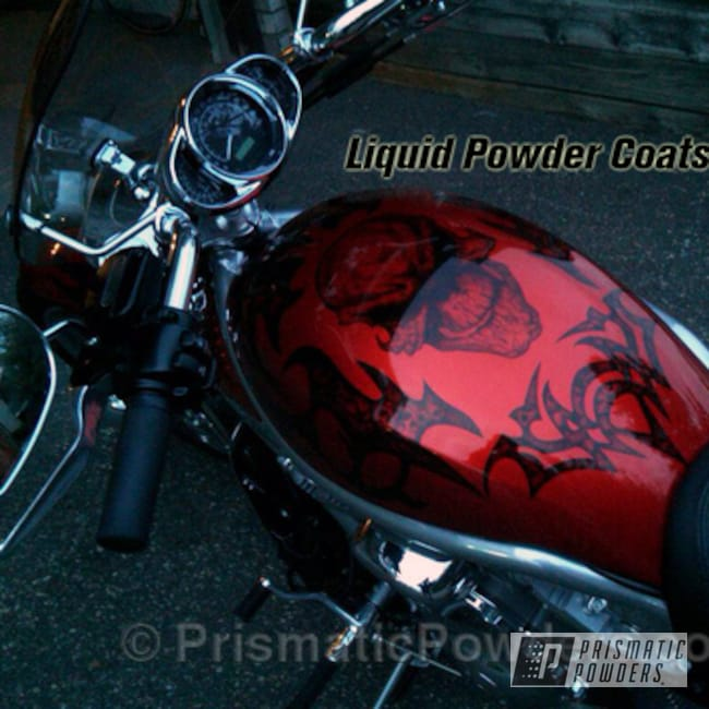 Powder Coating: LOLLYPOP RED UPS-1506,Custom airbrush work and powder fusion,BIGGS SILVER UPB-6018,motorcycle,Motorcycles,Alien Silver PMS-2569