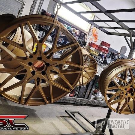 Powder Coating: Wheels,Automotive,Two Stage Application,Rims,Vegas Nutmeg PMB-4303,Casper Clear PPS-4005,Automotive Parts,Automotive Wheels,Aluminum Wheels