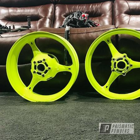 "Powder Coating: Wheels,Clear Vision PPS-2974,Motorcycle Rims,Rims,17"" Wheels,Neon Yellow PSS-1104,Motorcycle Wheels,Aluminum Wheels"