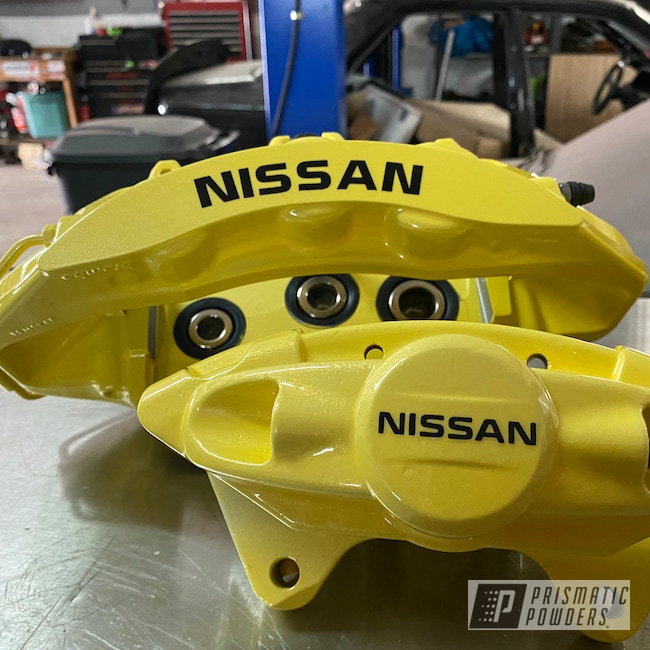 Powder Coating: Calipers,Clear Vision PPS-2974,Nissan,Brake Calipers,Cosmic Yellow PMB-2132,Brake Caliper