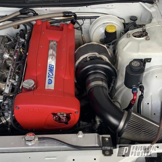 Powder Coating: Intake Manifold,Automotive,Hacienda Red Wrinkle PWB-6450,CLOUD BLACK USS-4709,Turbo,Engine Parts,Valve Cover,Pipe