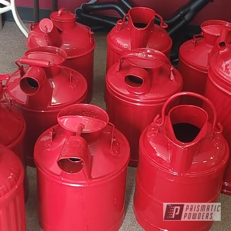 Powder Coating: Vintage Cans,Vintage,RAL 3002 Carmine Red,Oil Cans