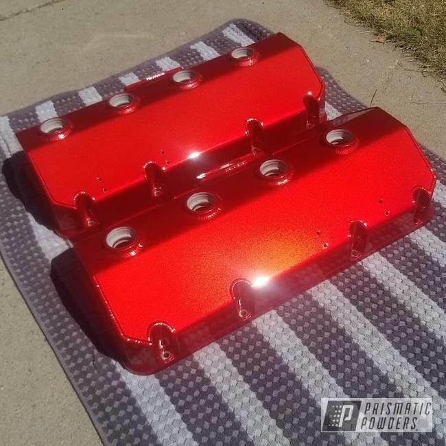 Powder Coating: Automotive,LOLLYPOP RED UPS-1506,Valve Covers,2 Stage Application,Transparent Colors,Alien Silver PMS-2569,Automotive Parts