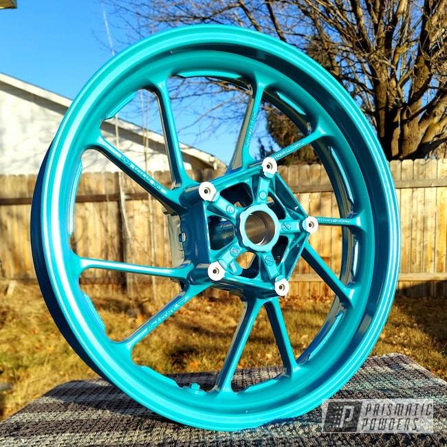 Powder Coating: Wheels,Motorcycle Rims,Rims,Motorcycle Wheels,Motorcycles,Pearled Turquoise PMB-8168