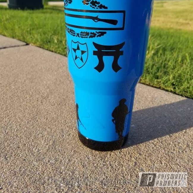 Powder Coating: Clear Vision PPS-2974,Clear Coat,Tumbler,Multi Stage Application,Ink Black PSS-0106,Playboy Blue PSS-1715,Combat Badge,Custom Tumbler Cup,Miscellaneous