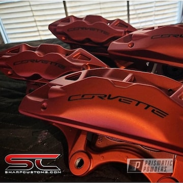 Powder Coated Corvette Brakes In Ups-1506 And Pps-4005