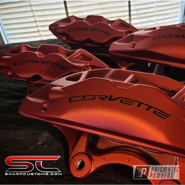Powder Coating: Calipers,Brakes,LOLLYPOP RED UPS-1506,Corvette Calipers,Brake Calipers,Casper Clear PPS-4005,Corvette