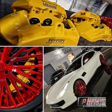 Powder Coated Ferrari Brakes In Ral 1003