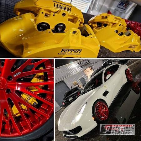 Powder Coating: Automotive,Calipers,Brake Calipers,RAL 1003 Signal Yellow,Ferrari,Brake Caliper