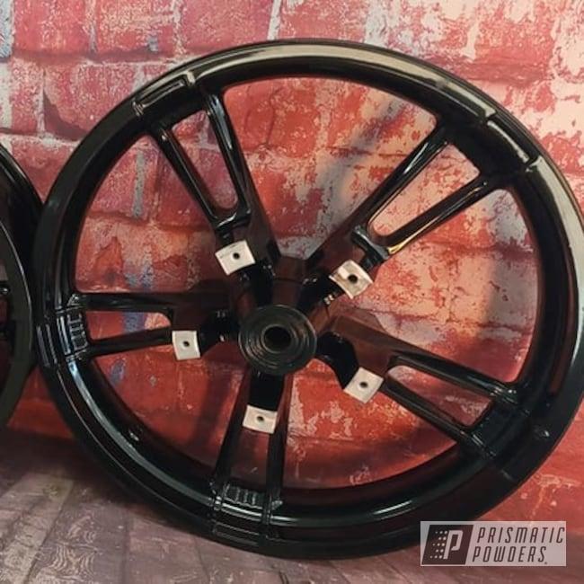 Powder Coating: Wheels,Harley Davidson Parts,Harley Davidson,Motorcycle Parts,Rims,Ink Black PSS-0106,Harley Wheels,Aluminum Rims,Motorcycle Rim