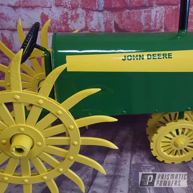 Powder Coating: Tractor Green PSS-4517,Ink Black PSS-0106,3 Color Application,RAL 1018 Zinc Yellow,Mailbox,Custom Logo,John Deere,Custom Mailbox,Just Cool