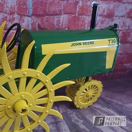 Powder Coating: Tractor Green PSS-4517,Ink Black PSS-0106,3 Color Application,RAL 1018 ZincYellow,Mailbox,Custom Logo,John Deere,Custom Mailbox,Just Cool