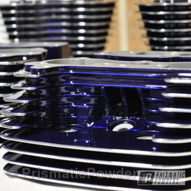 Powder Coating: SUPER CHROME USS-4482,chrome,cylinder heads,Motorcycles,Bentley Blue PPB-4711,Powdercoat Polished Fin Highlights Twin Cam Heads