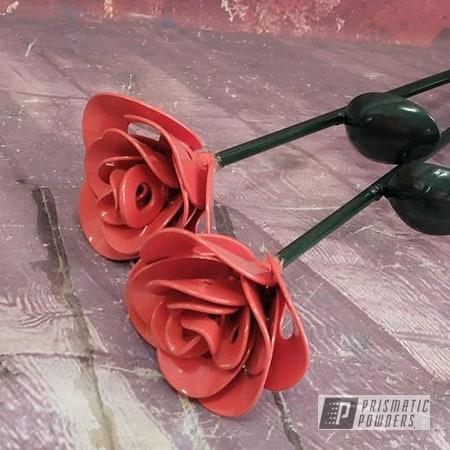 Powder Coating: Metal Art,2 Color Application,RAL 6005 Moss Green,Texaco Red PSB-2740,Flowers,Roses,Custom Roses