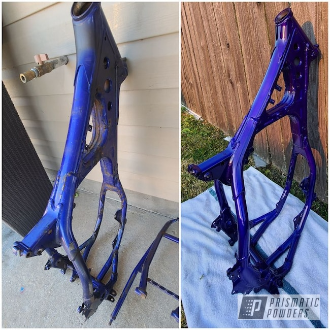 Powder Coating: Porsche Silver PMS-0439,2 Color Application,Motorcycle Frame,Yamaha,YZ250,Bike Parts,Motorcycles,Bentley Blue PPB-4711