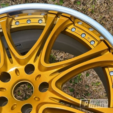 """Powder Coating: Wheels,Alloy Wheels,POLISHED ALUMINUM HSS-2345,Two Stage Application,20"""" Wheels,Rims,Brassy Gold PPS-6530"""