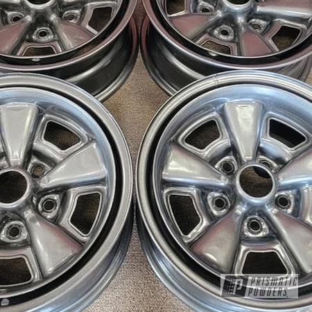 "Powder Coating: Wheels,Automotive,15"" Steel Wheels,Rims,Kingsport Grey PMB-5027,Rally Wheels,Automotive Rims,Automotive Wheels"