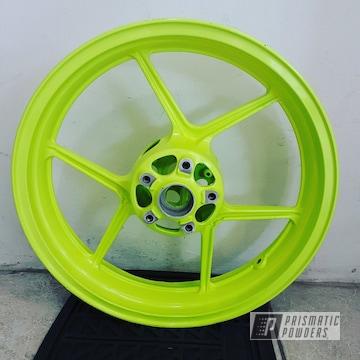"Powder Coated Ninja Zx10r 17"" Aluminum Wheels In Neon Yellow"