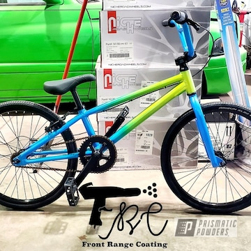 Two Tone Bmx Bicycle Powder Coated In Glowing Yellow, Illusion Lite Blue And Clear Vision