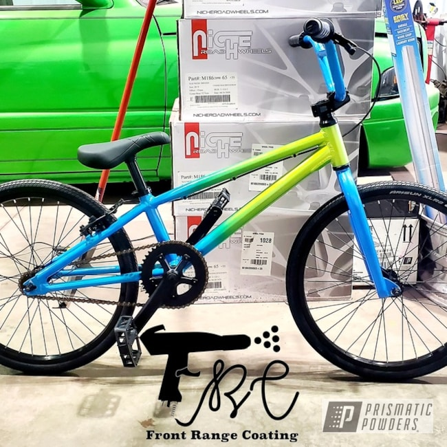 Powder Coating: Clear Vision PPS-2974,2 Tone,Illusion Lite Blue PMS-4621,Glowing Yellow PPB-4759,Bicycle