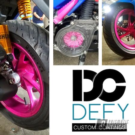 Powder Coating: Wheels,Clear Vision PPS-2974,Motorcycle Rims,Yamaha,Rims,Illusion Pink PMB-10046,Honda,Motorcycles,Motorbike