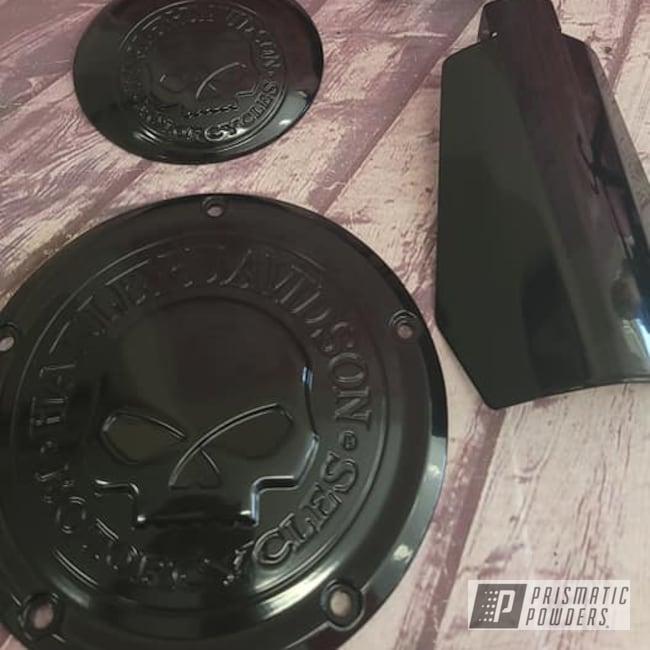 Powder Coating: Harley Davidson Parts,Harley Davidson,Motorcycle Parts,Ink Black PSS-0106,Motorcycle Engine Covers,Engine Parts,Engine Cover