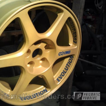 Evolution Wheel Coated In Golden Yellow And Cream Soda Blue