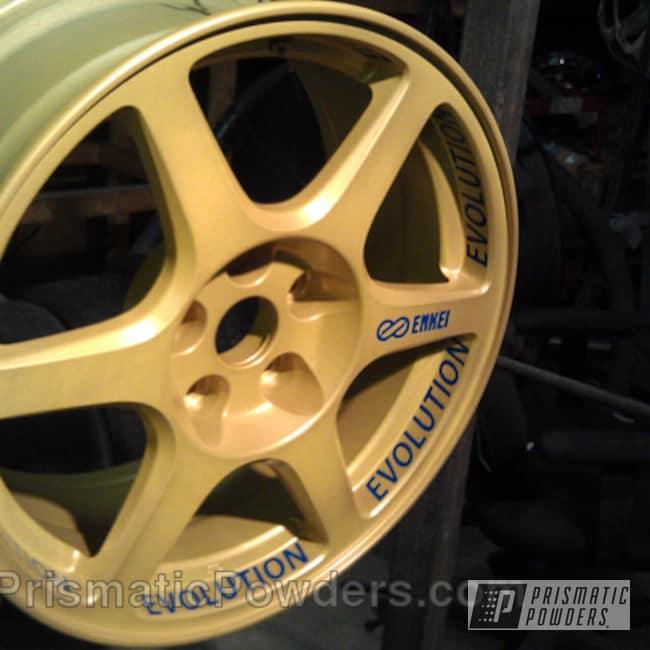 Powder Coating: Wheels,Automotive,Yellow,Golden Yellow PMB-5028,Blue,Cream Soda Blue PMB-4141,powder coated
