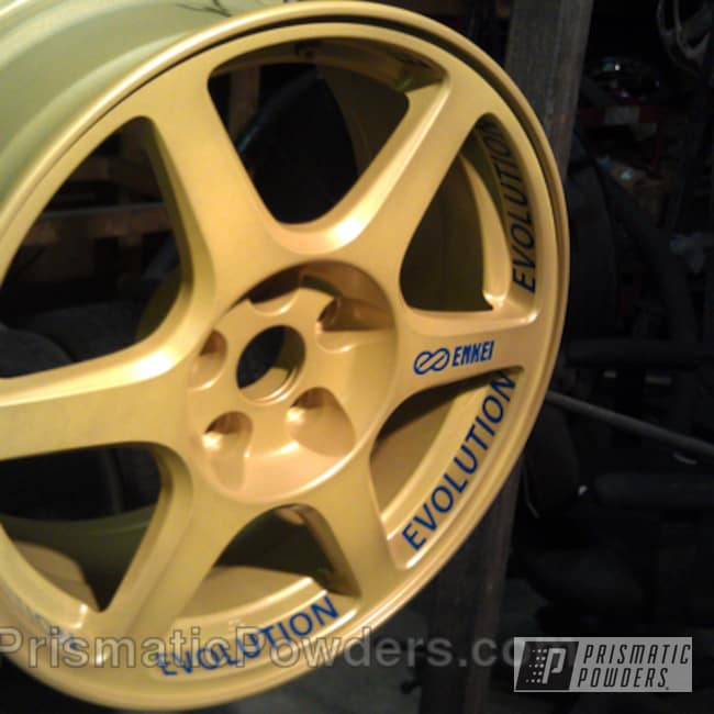 Powder Coating: Wheels,Automotive,Wheel,Yellow,Golden Yellow PMB-5028,Blue,Cream Soda Blue PMB-4141,powder coated