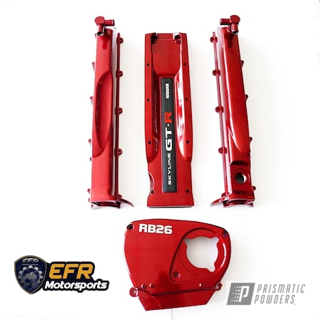 Powder Coating: GTR,Automotive,Clear Vision PPS-2974,Nissan,RB26,Illusion Red PMS-4515,Engine Parts,Engine Cover