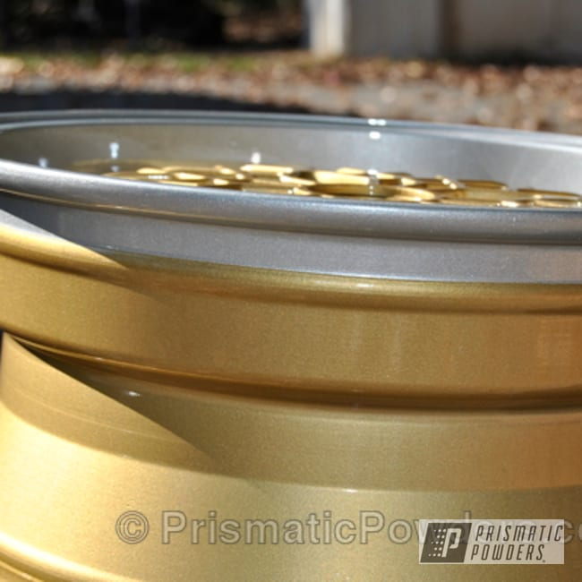 Powder Coating: Wheels,wheel,Clear Vision PPS-2974,silver,powder coated,Crushed Silver PMB-1544,gold