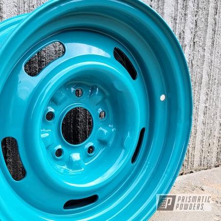 "Powder Coating: Wheels,15"" Steel Wheels,Classic Car,Steel,Aluminum Wheels,Alloy Wheels,Rims,Muscle Car,15,Car Restoration,Restoration,Indian Turquoise PSS-2791,Steel Rims"