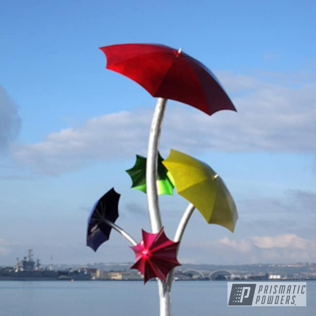 Powder Coating: Sculpture,LOLLYPOP ROSE UPB-5079,LOLLYPOP RED UPS-1506,red,powder coated,Art,green,Shocker Yellow PPS-4765,yellow,Umbrella