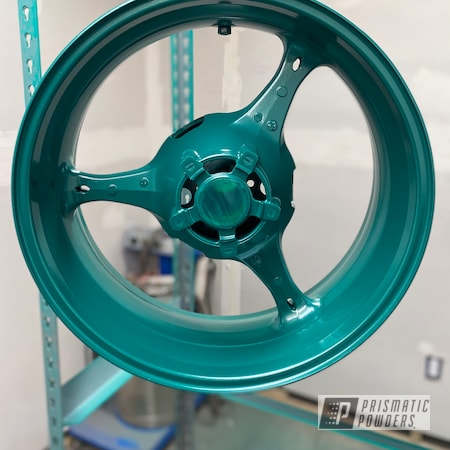 """Powder Coating: Wheels,Motorcycle Parts,17"""" Aluminum Rims,Ink Black PSS-0106,GSXR,Motorcycles,Motorcycle Rim,Clear Vision PPS-2974,Winter Mint PMB-1615,Rims,Suzuki,Rearsets,GSXR 1000"""