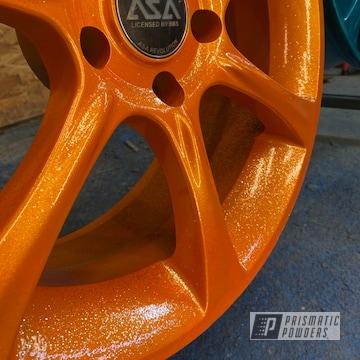 Powder Coated Custom Wheels In Ppb-5835 And Pms-4620