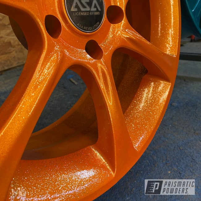 "Powder Coating: Wheels,Two Stage Application,Rims,Rockstar Sparkle PPB-5835,18"" Aluminum Rims,Illusion Orange PMS-4620,Aluminum Wheels"