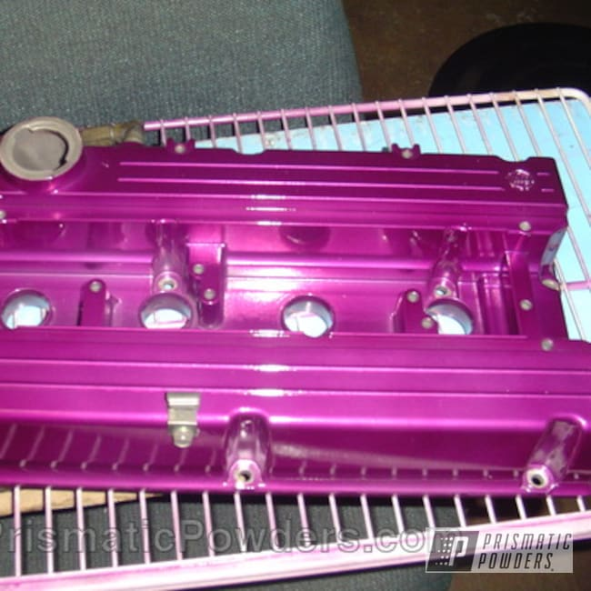Powder Coating: Automotive,SUPER CHROME USS-4482,chrome,powder coated,ANODIZED GRAPE UPB-1510,purple,Valve Cover
