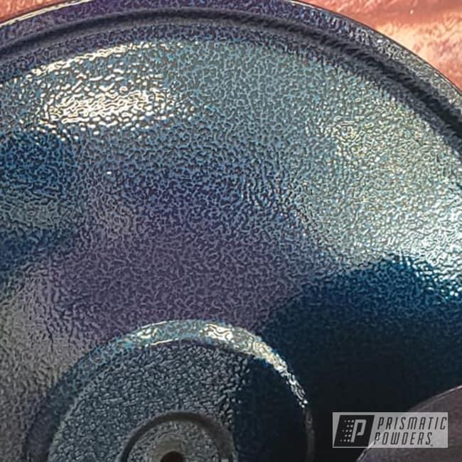 Powder Coating: Automotive,2 Color Application,Chevrolet,Valve Covers,Peeka Blue PPS-4351,Ink Black PSS-0106,Transparent Colors,Silver Artery PVS-3014,Automotive Parts